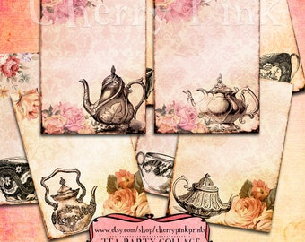 Vintage Tea Party printable, tea party decoration and clip art, party tags, shabby chic print.