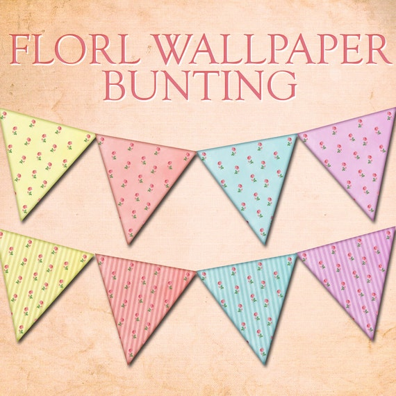 FLORAL BUNTING tea party decoration, digital printable bunting blue bunting pink bunting download party printables