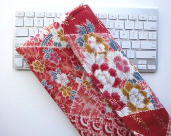 Apple Wireless Keyboard Sleeve Case Cover Padded Flap Closure Kimono cotton fabric peony cherry blossoms red