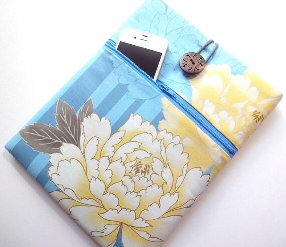 Kimono iPad 3 Sleeve iPad 2 Cover iPad Case - Front Zippered Pocket Padded Tablet case - Japanese Cotton fabric peony pale blue