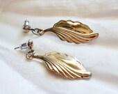 Art Deco Leaf Dangle Pierced Earrings