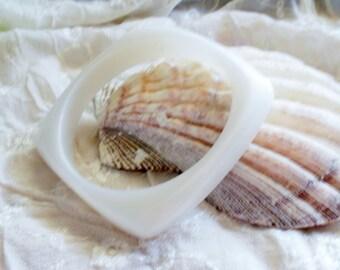 Pearlized White Square Bracelet