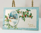 Antique Greeting Postcard 1908 - A merry Christmas - Holly - Snow