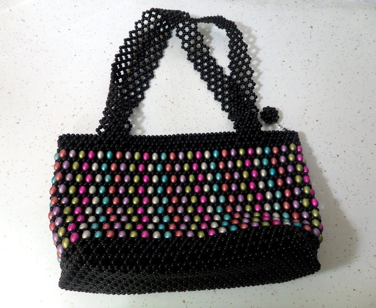 Jelly Bean Beaded Bag Colorful Bead Bag Shoulder Bag Beaded