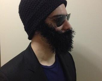 Handmade Crochet Beard hat, beard beanie, black hat with black beard, beard hat, men beard hat