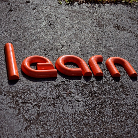 """Vinage Orange Rounded Industrial Sign Letters for Teachers Education """"LEARN"""""""