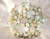 Downton Button Bouquet in ivory, cream and mint green with pearl and fabric flower highlights