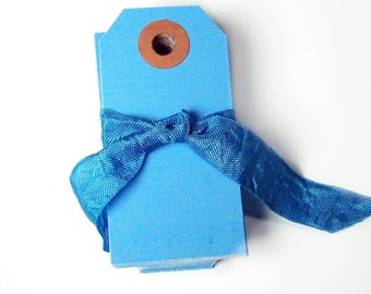 25 blue shipping tags, mini size tags, gift tags, price tags, favor tags, craft sale tags, hang tags, paper craft