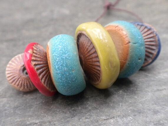 Rustic Stripes- handmade ceramic textured bead set 0044