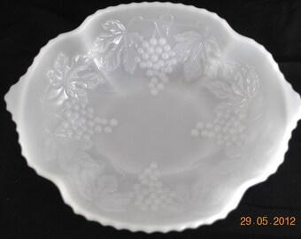 Vintage Milk Glass Oval  Dish