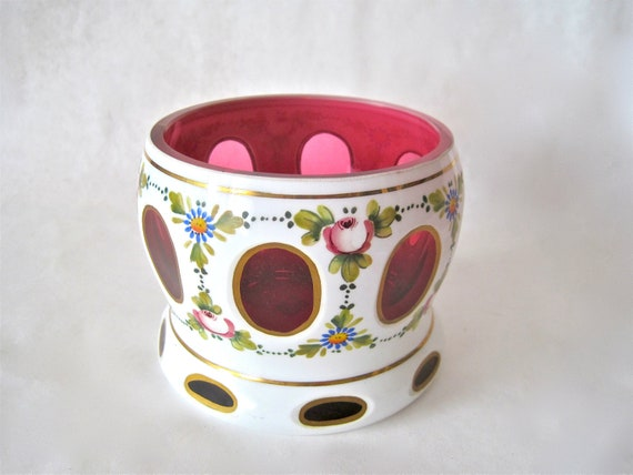 Reserved for Laura     ----Vintage Bohemian Czech Cased Cut White to Cranberry Vase