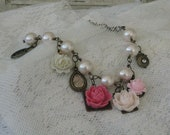 Pearl Bracelet, White And Pink Gift For Her