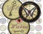 Vintage Motifs V3 Bottlecap Images / Love, Fleur de Lis, Butterfly, Heart, Key / Printable Digital Collage 1 Inch Circles / Instant Download