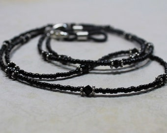 Black Beaded Lanyard ID, Eyeglass Leash, Glasses Chain, Spectacle Chain, Necklace, Breakaway Feature