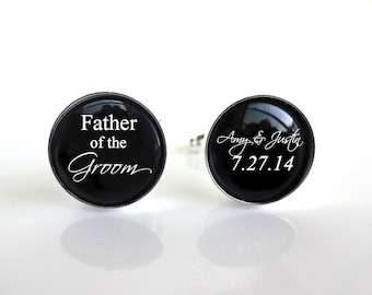 Custom Father of the Groom Cuff Links - Custom Wedding Date and Name Cufflinks - Gifts for Grooms Dad - Sterling Silver or Stainless