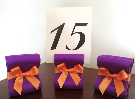 Table Number Holders - Set of Ten (10) with Purple and Orange Satin Ribbon - Customize Your Colors