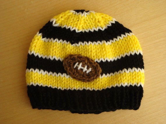 Baby Football Beanie -  Steelers Football Hat - Hawkeye Football Hat - Toddler Hand Knit Hat
