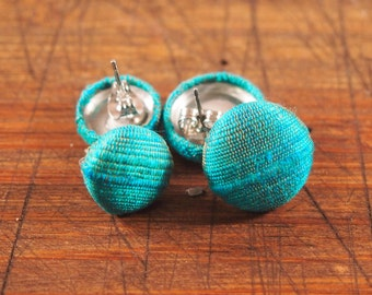Fabric Covered Button Earring - Teal Blue Silk