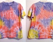 Men's Large Tie Dyed Pink Blue and Yellow Sunburst HYFR Shirt