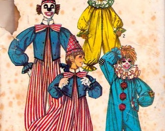 Simplicity 7162 Girls' and Boys' Clown Costume Pattern, UNCUT, Size 6-8, Halloween Costume, Children's Costume