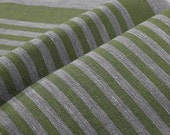 Decorator fabric Upholstery 100% Pure Linen Canvas Ecru Grey Apple Green stripes Heavy Weight  New ECO-friendly - custom yardage