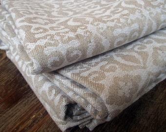 Sheet Towel Bath Pure Linen flax Natural Ecru Damask Jacquard Reversible