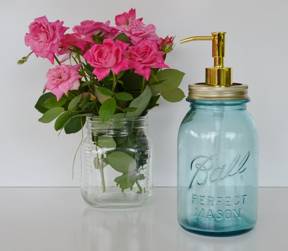 Mason Jar Soap Dispenser Blue Ball Perfect Mason Jar with Gold Pump