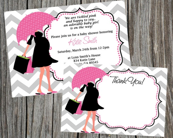Baby Shower Card Printable ~ Combo special modern mom baby shower invitation and thank you