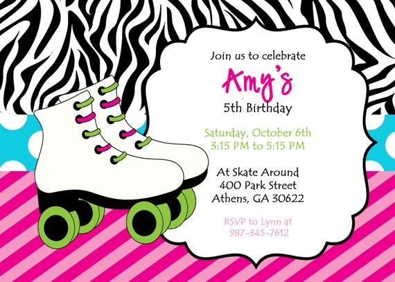DIY Printable Skating Party Invitation. Zebra Print Skate Invite. Colorful Customized Skate ...