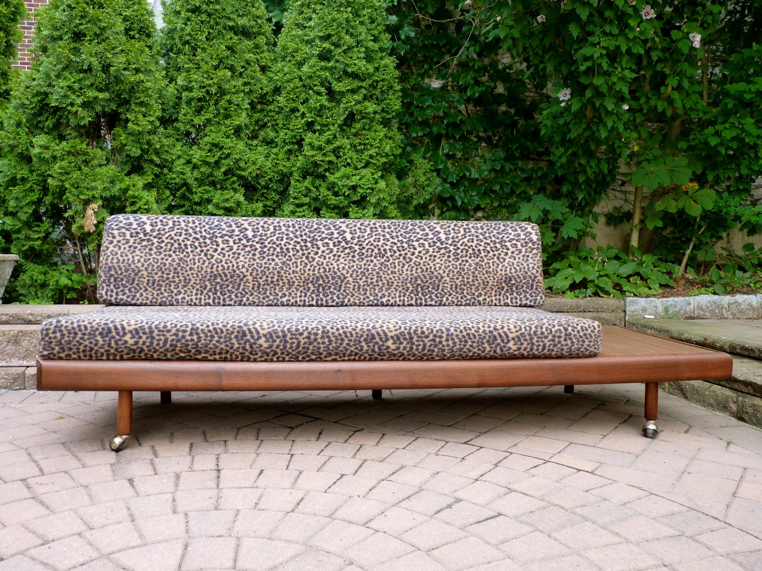 Mid Century Modern Sofa Daybed Couch Leopard Print