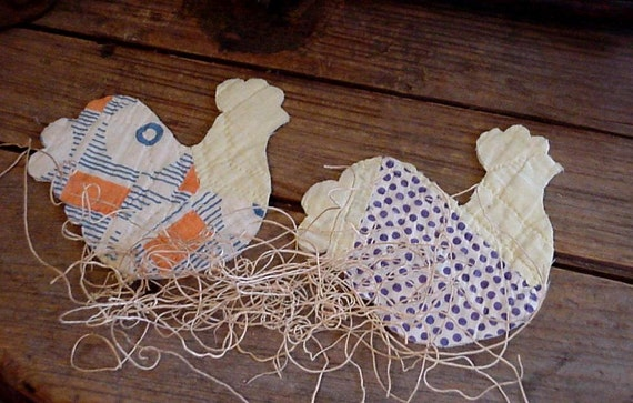 Primitive Chicken Appliques Vintage Patchwork Cutter Quilt Barnyard Hen Shabby Folk Art Fabric Embellishments itsyourcountry