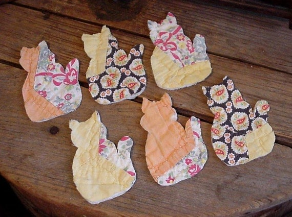 Tabby Cat  Appliques Vintage Primitive Patchwork Quilted Shabby Fabric Cutter Quilt Kitty Kitties Embellishments itsyourcountry
