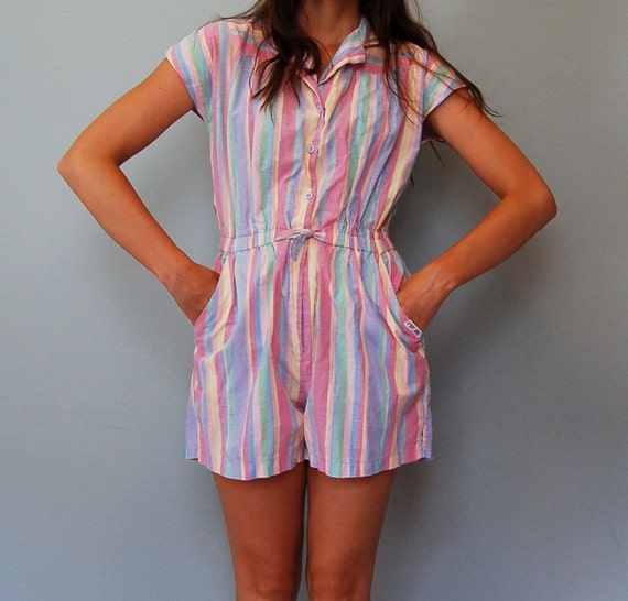 vintage ROMPER 80s jumper XS play suit / summer sherbet striped / small xs