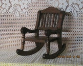 Vintage Wooden Doll Country Rocking Chair 1970's
