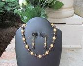 Wedding Jewelry Flower Girl Gold Dark Brown Swarovski Pearls and Crystals Bridal Jewelry Set