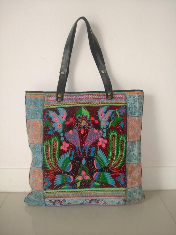 SALE 50% Tote -Handmade Ethnic Hmong Bag HB-299