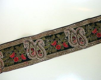 Black Sari Border: Paisley Sequined Silk Ribbon, Black Red Olive Floral Indian Saree Sewing Trim, Ribbon