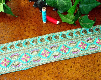 Indian Silk Sari Border: Sequined Embroidered Saree Ribbon Trim, 1 yard, Turquoise, Fuchsia, Gold