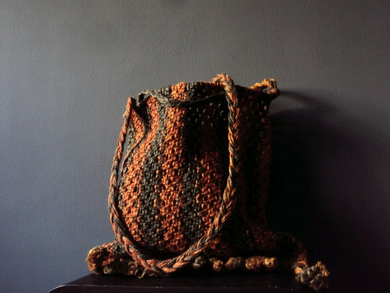 Vintage Harvest Eco Tote Moss Green Rust Pumpkin Burnt Orange Macrame Rope Weave  Autumn Spice