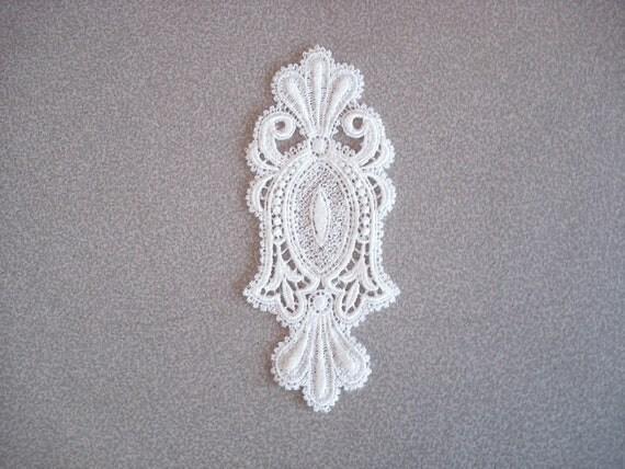 Venice Lace Embroidery Appliqué Medallion In White Color.