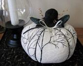 Black and White Pumpkin Fall Tree Fabric Large Stuffed Pumpkin
