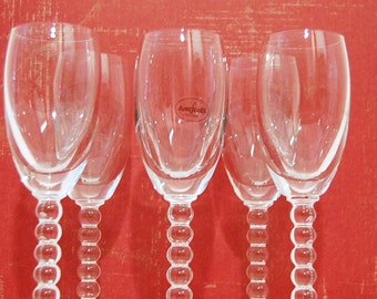 Cordial Boopie Crystal Stemware Set of 5 Vintage Botticelli Boopie Glasses Burple Candlewick Holiday Dining Party After Dinner