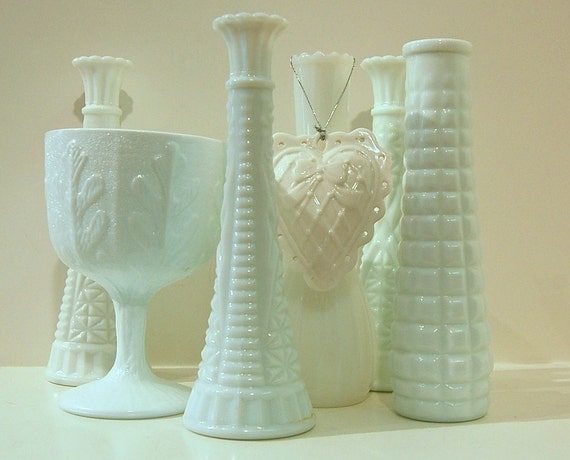 Milk Glass Vases 7 Piece For Your Wedding Shower Holiday