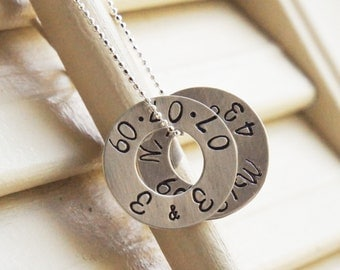 Coordinates Latitude Longitude Location Personalized Double Sterling Silver Washer Necklace Everyday Dainty Necklace CustomMothers Day