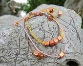 A set of 3  Copper cubes   Friendship Bracelets