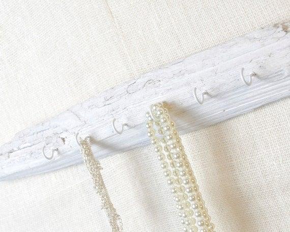 Driftwood Jewelry Organizer - Jewelry Hooks - Key Hooks - Wall Rack, White, Whitewash
