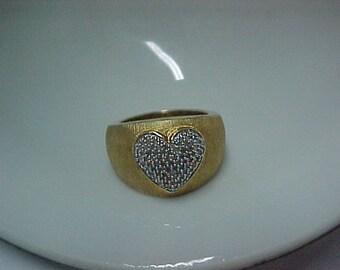 Vintage Pave Diamond Heart Ring .25 Carat,14K Brushed Gold, over 925 Sterling Silver, 7.7 Gram