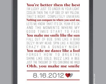 Custom Song Lyrics Wall Print (custom song lyrics and date) in red & gray