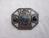 Vintage MIRACLE WELSH DRAGON Brooch Pin Celtic Agate Symbol of Wales
