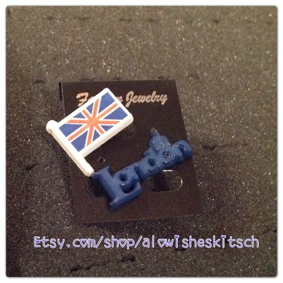 london flag earrings